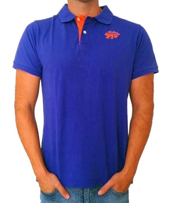 Blue orange polo shirt 100% cotton