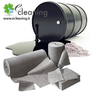 Assorbenti industriali per oli, idrocarburi, sostanze chimiche e liquidi in genere.