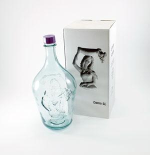 5 liter glass demijohn with plastic airtight cap and with a image of a woman molded in relief on demijohn.