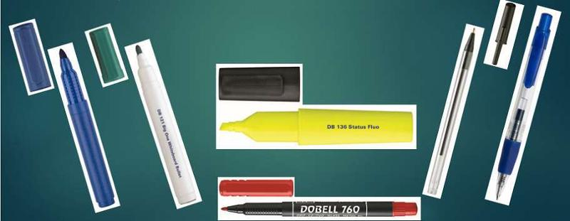 Dobell's  random selection of office items. Permanent markers, drywipe markers, highlighters, fineliners, ball pens, gel pens.