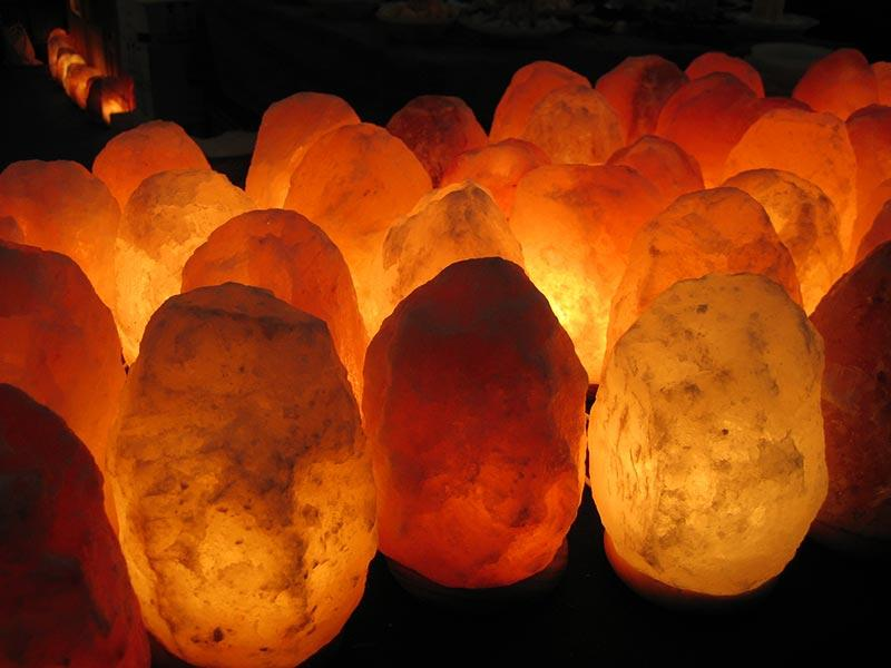 Himalayan crystal salt lamps.