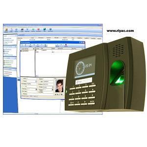 Sistema de control de presencia compuesto de terminal con lector de huellas, lector RFID, pantalla a color, teclado, puerto USB y puerto Ethernet.