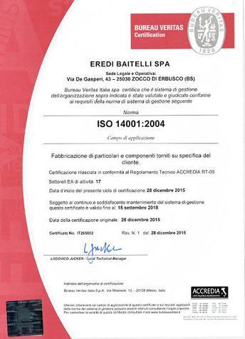 ottiene il 28/10/2015 la Certificazione di Sistema di Gestione, norma UNI EN ISO 14001:2004 – Sistema di Gestione Ambiente