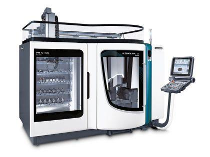 HSC / ULTRASONIC 20 linear with a linear magazine PH 10|100 – flexible for all clamping systems