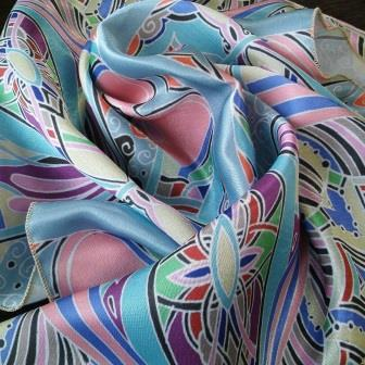 Author's design on the fabric, finished products: scarves, shawls, decorative pillows