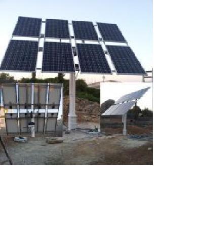 Seguidor Solar Mini, de medidas 12 metros cuadrados de parrilla con dos motores que hacen los 360 Grados, total mente automatico, a la puesta de sol, hara dias cortos 6 movimientos, largos 8 movimient