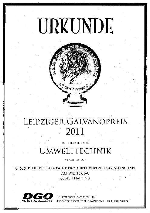 Urkunde Galvanopreis