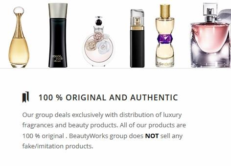 Our group deals exclusively with distribution of luxury fragrances and beauty products. All of our products are 100% original . BeautyWorks group does NOT sell any fake/imitation products.