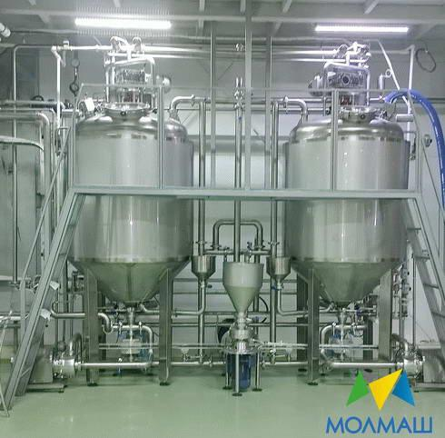 "full and semi automatic lines for pasteurized quark, mass mousses, pastes, mayonnaise, ketchup, sause, jam, mash,""condensed milk"" from dry milk, other viscous products.Capacity from 200kg upto 4 000kg"