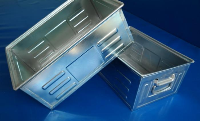 Sheet steel stackable storage boxes and containers