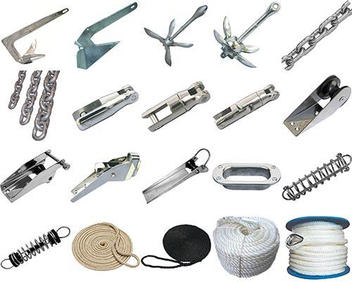 Dawn Marine offers a variety of of anchoring and docking equipment, including anchors, chains, bow rollers, anchor connectors, hawse pipes, mooring springs, ropes.