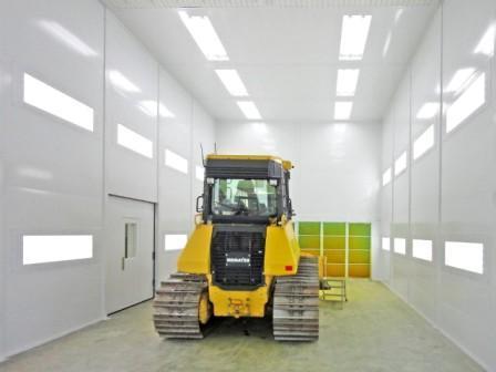 Grande cabine de peinture pour poids lourds à ventilation diagonale: décapeuse, bulldozer, ….