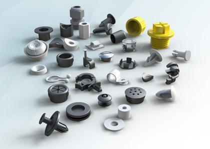 Morsetti, clips, rondelle, dadi, bulloni, spaziatori in plastica