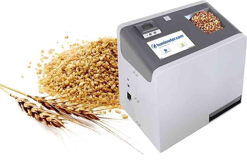Vollautomatischer Ganzkorn Getreidefeuchtigkeitsmesser (Eichfähig) mit integrierter Hektoliter- gewichtsbestimmung und IR-Probentemperaturmessung. Kalibriert für alle gängigen Getreidesorten