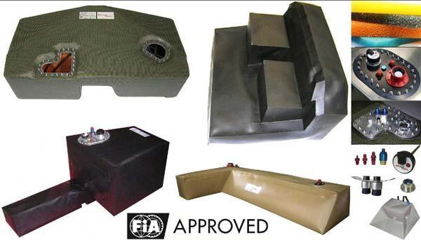 Flexible fuel bladder tanks FIA approved and tank accessories (valves, level sensors, catch-tank, fuel pumps, filters, filler caps,…) for race cars (circuit racing, endurance, rallye-raid, WRC, etc…)