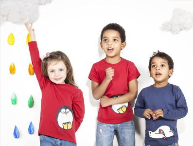 Colorful organic cotton T shirts for kids. Long and short sleeves. Polar bear and penguin prints.