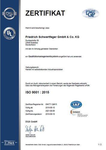 Zertifikat 9001:2015