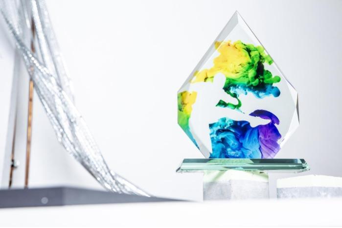 Glastrophäe mit UV-Druck