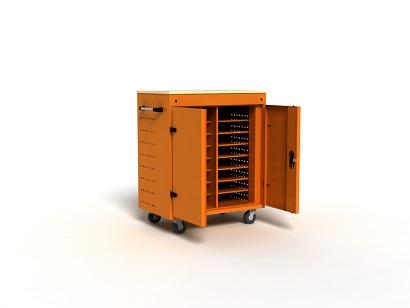 Carts with hinged doors designed for safe storing of laptops, tablets, mobiles etc.The carts are provided with one 230V 10A power socket; power strips are placed inside the cabinet.