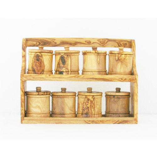 Il s'agit de 8 boites à épices avec étagère fabriqués en bois d'olivier