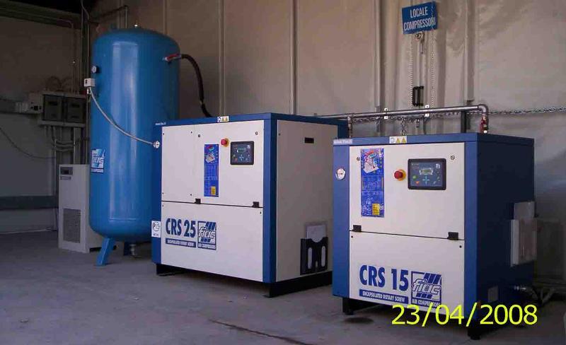 stazione produzione aria compressa marca FIAC composta da n° 2 compressori (principale 25 Hp / 18,5 Kw e beckup 15 Hp / 11 Kw) gestiti da centralina elettromeccanica