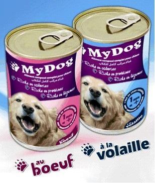Aliment Humide en conserve pour Chien : - My DOG au boeuf ou à la volaille en boite de 400 gr : 0.65 Euro / la boite - Colisage en carton de 8 boites : 5.2 Euro / carton - Prix FOB port Tunisie.