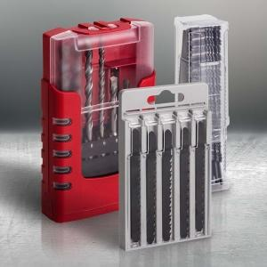 Plastic packaging for tools and tool accessories
