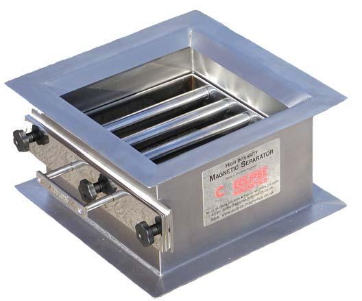Magnetische separatoren van simpele enkelvoudige handbediende easy clean uitvoeringen tot volautomaten welke gedurende de productie gereinigd kunnen worden zonder dat de veiligheid in gevaar komt.