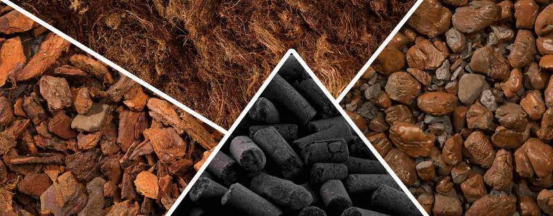 Pour répondre à vos besoins, nous proposons des média organique et minéral Tourbe fibreuse Écorces calibrées Média minéral Bio Sil Air Charbon actif