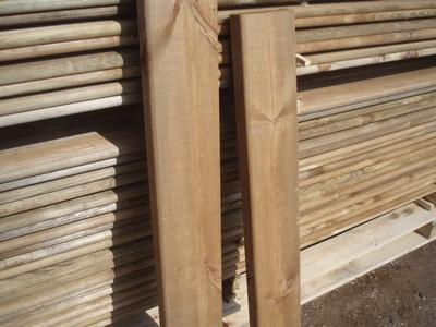 Decking made from pine impregnated Tanalith E + Tanaton