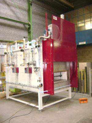 Heat treatment furnace, heated with gas burners.