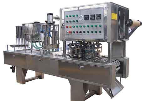 Automatic Linea Cup Fill Seal foil or film packing machine AF-100 is suitable for packing liquids and dairy products in plastic cups with sealing by foil or film and lid