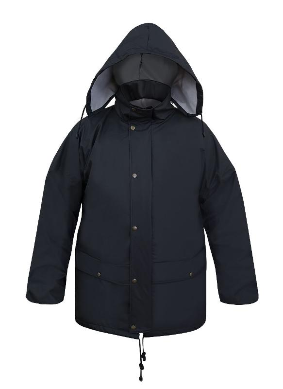 The jacket is fastened with hidden zip and storm flap. The model has a concealed hood into collar, 2 welded pockets with protective flaps and ventilation unders arms. The sleeves contain wind-cuffs.