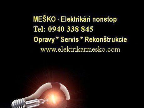 Opravy elektroinštalácii v bytoch a rodinných domov.Rekonštrukcie a prerábky.Montáž a zapojenie elektrospotrebičov.