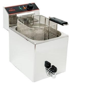 Fritadeiras de 4 até 10L, com opções duplas capacidades, com ou sem torneira. Fornecidas com cesto e tampa. Existem também máquinas de frituras. Todos os modelos têm termostatos de segurança europeus.