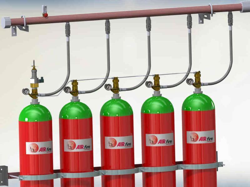Sistemas de extinción de incendios por agentes inertes: Argón, Nitrógeno, y mezclas (IG-55 y IG-541) ofrecidos a 200 y 300 bar. 100% ecológicos, el futuro seguro del contra incendio.