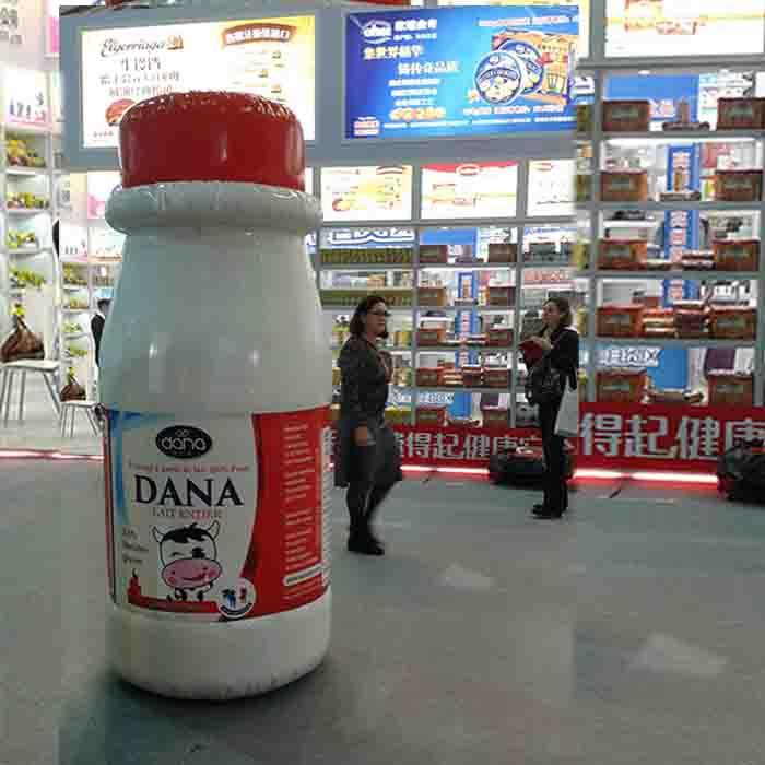 A Giant DANA UHT Milk Bottle balloon drew a lot of attention in FHC @ Shanghai SNIEC in China during the exhibition.Dana 250 ml UHT Milk bottles are being widely sold in the Chinese market today