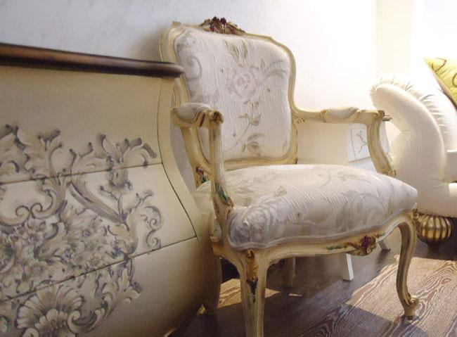 """By using Italian finishes we are providing French classic furniture with modern colors in armchairs and hand drawing on chest drawers """"hand-painted furniture"""". Please, don't hesitate for any question"""