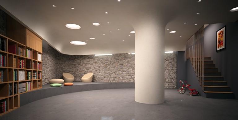 Controsoffittatura in gesso e rivestimento pilastro in gesso.Fori a soffitto per inserimento corpi per illuminazione in gesso.