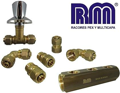 Racores de compressión en latón para tubo de pex y tubo multicapa. Brass compression fittings for pex tube and multilayer tube.