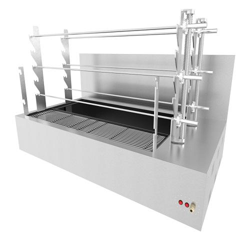 Stainless Steel AISI 430 - Nickel plated grill grates- 3 spits on each axis - The axis are inclined - Individual electrical motor for each axis