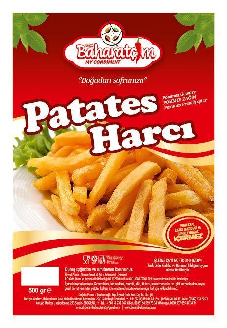 4-POMMES BAHARATI- TR için  yeni formaliasyonu tamamlanmıştır İçinde kimyasal olmayan, Kırmızı biber, tuz, zerdecal, zencefil, köri, süt tozu,, kereviz sebzeleri  vb gibi karışımlardan oluşur