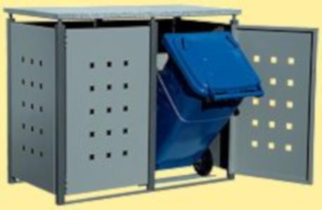 Müllbox mit Granitplatte als Dach