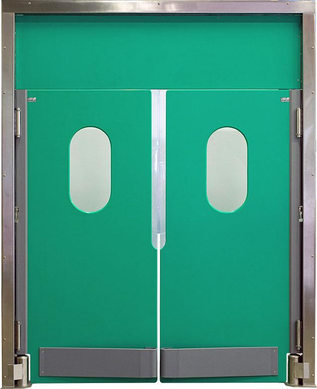 Portes SCHWEYER va-et-vient en matériau SCH500, avec charnières inox, vous apporterons la résistance dans le temps. Matériau éprouvé dans le milieu agro-alimentaire. Garantie dans la longévité.