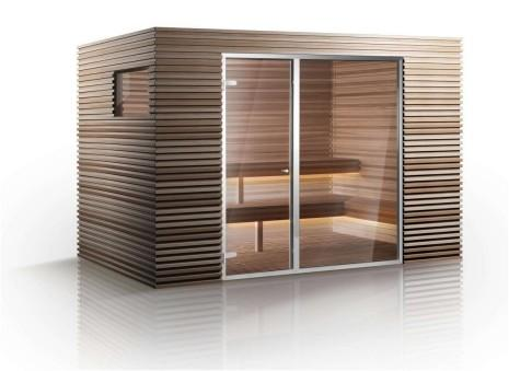 Modern cedar wood sauna