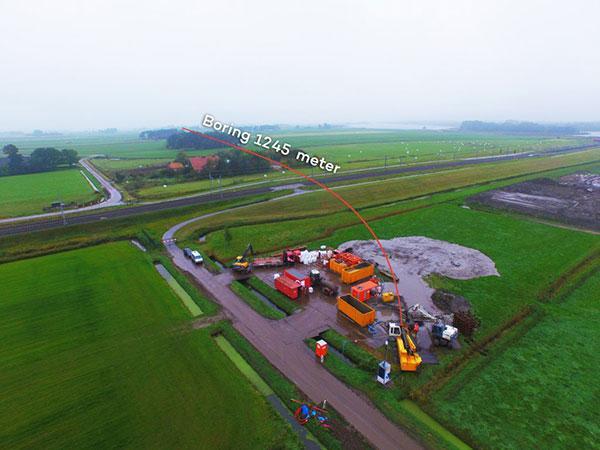 Gestuurde boring Kampen, 1245 meter