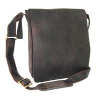 "Flap over messenger bag with magnetic flap closure. Vegetable tanned distressed look leather .Dimensions: W 9.4""X H 11"" X D 3"" approx."