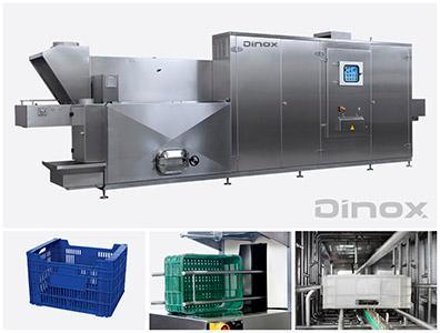 Túneles de lavado automático compactos y de óptimas prestaciones para el lavado de cajas, bandejas, moldes y piezas varias.