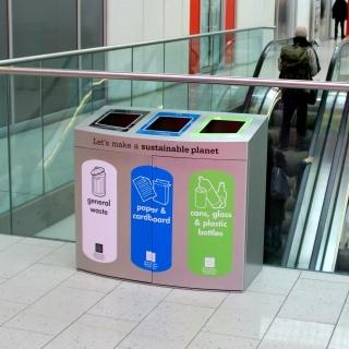 The Console Unit is a curvy 3 compartment recycling unit featuring invisible magnetic door catches.