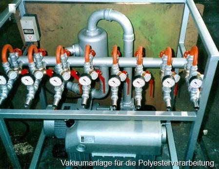 Vakuumanlage f. d. Polyesterverarbeitung